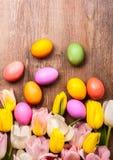 2 όλα τα αυγά Πάσχας έννοιας νεοσσών κάδων ανθίζουν τη χλόη χρωμάτισαν τις τοποθετημένες νεολαίες Στοκ Εικόνες