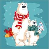 όλα τα Χριστούγεννα κλειστά επιμελούνται eps8 τη δυνατότητα μερών απεικόνισης στο διάνυσμα Δύο πολικές αρκούδες με τα δώρα στοκ φωτογραφία