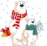 όλα τα Χριστούγεννα κλειστά επιμελούνται eps8 τη δυνατότητα μερών απεικόνισης στο διάνυσμα Δύο πολικές αρκούδες με τα δώρα στοκ εικόνες