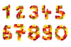 Όλα τα ψηφία από 0 έως 9 φιαγμένα από ζωηρόχρωμες gummy αρκούδες απομόνωσαν το πνεύμα Στοκ φωτογραφία με δικαίωμα ελεύθερης χρήσης