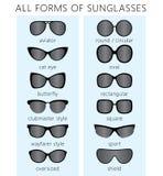 Όλες οι μορφές γυαλιών ηλίου Στοκ Εικόνες