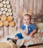 όλες οι οποιεσδήποτε μεμονωμένες συστάσεις μεγέθους κλίμακας αντικειμένων απεικόνισης στοιχείων ελαφιών Χριστουγέννων στο διάνυσμ Στοκ Εικόνες