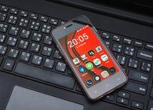 Όλη η εφαρμογή στο κινητό τηλέφωνο οθόνης Στοκ Εικόνες