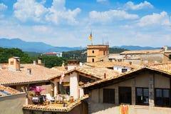 όλη η πόλη αλλαγής χρωματίζει την εύκολη ευρωπαϊκή παλαιά άνευ ραφής swatches στεγών διανυσματική ταπετσαρία Girona Στοκ εικόνες με δικαίωμα ελεύθερης χρήσης
