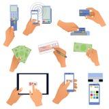 Όλοι για το ανθρώπινο κράτημα χεριών επιχειρησιακών πληρωμών απεικόνιση αποθεμάτων