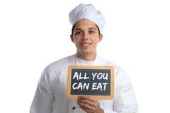 Όλοι εσείς μπορείτε να φάτε τον μπουφέ τρώγοντας το μάγειρα τροφίμων εστιατορίων γευμάτων μεσημεριανού γεύματος Στοκ φωτογραφία με δικαίωμα ελεύθερης χρήσης
