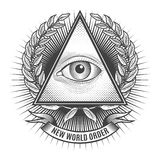 Όλοι που βλέπουν το μάτι στο του δέλτα τρίγωνο διανυσματική απεικόνιση