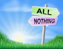 Όλος ή τίποτα σημάδι απόφασης Στοκ Εικόνες
