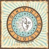 Όλο zodiac το σημάδι στον κύκλο ωροσκοπίων Εκλεκτής ποιότητας κάρτα ωροσκοπίων Στοκ Φωτογραφία