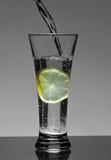 ύδωρ λεμονιών γυαλιού στοκ φωτογραφίες