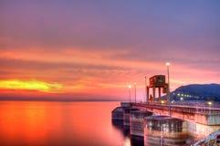 ύδωρ τοίχων ηλιοβασιλέματος πυλών φραγμάτων Στοκ εικόνες με δικαίωμα ελεύθερης χρήσης