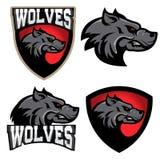 λύκοι Πρότυπο λογότυπων αθλητικών ομάδων Μασκότ απεικόνιση αποθεμάτων