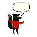 λύκος κινούμενων σχεδίων με τη λεκτική φυσαλίδα Στοκ Φωτογραφίες