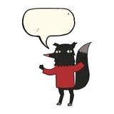λύκος κινούμενων σχεδίων με τη λεκτική φυσαλίδα Στοκ Εικόνες
