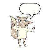 λύκος κινούμενων σχεδίων με τη λεκτική φυσαλίδα Στοκ εικόνες με δικαίωμα ελεύθερης χρήσης