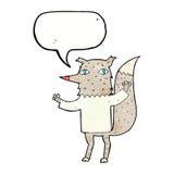 λύκος κινούμενων σχεδίων με τη λεκτική φυσαλίδα Στοκ εικόνα με δικαίωμα ελεύθερης χρήσης