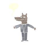 λύκος κινούμενων σχεδίων με τη λεκτική φυσαλίδα Στοκ Εικόνα