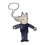 λύκος κινούμενων σχεδίων με τη λεκτική φυσαλίδα Στοκ φωτογραφίες με δικαίωμα ελεύθερης χρήσης