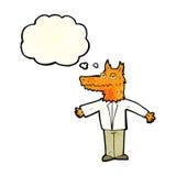 λύκος κινούμενων σχεδίων με τη σκεπτόμενη φυσαλίδα Στοκ φωτογραφία με δικαίωμα ελεύθερης χρήσης