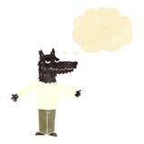 λύκος κινούμενων σχεδίων με τη σκεπτόμενη φυσαλίδα Στοκ Εικόνες