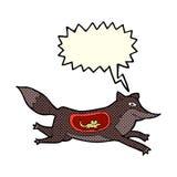 λύκος κινούμενων σχεδίων με το ποντίκι στην κοιλιά με τη λεκτική φυσαλίδα Στοκ εικόνες με δικαίωμα ελεύθερης χρήσης