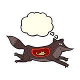 λύκος κινούμενων σχεδίων με το ποντίκι στην κοιλιά με τη σκεπτόμενη φυσαλίδα Στοκ Φωτογραφίες