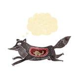 λύκος κινούμενων σχεδίων με το ποντίκι στην κοιλιά με τη σκεπτόμενη φυσαλίδα Στοκ Εικόνες