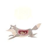 λύκος κινούμενων σχεδίων με το ποντίκι στην κοιλιά με τη σκεπτόμενη φυσαλίδα Στοκ Φωτογραφία