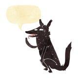 λύκος κινούμενων σχεδίων που γλείφει το πόδι με τη λεκτική φυσαλίδα Στοκ Εικόνες