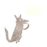 λύκος κινούμενων σχεδίων που γλείφει το πόδι με τη σκεπτόμενη φυσαλίδα Στοκ Εικόνες