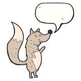λύκος κυματισμού κινούμενων σχεδίων με τη λεκτική φυσαλίδα Στοκ φωτογραφία με δικαίωμα ελεύθερης χρήσης