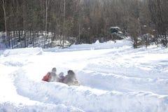 Δύο άνθρωποι γλιστρούν μέσα τη διαδρομή χιονιού Στοκ Εικόνα