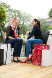 Δύο ελκυστικοί νέοι θηλυκοί φίλοι που απολαμβάνουν μια ημέρα έξω μετά από τις επιτυχείς αγορές Στοκ Εικόνες