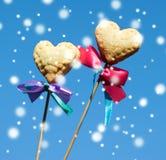 Δύο διαμορφωμένα καρδιά μπισκότα Στοκ Εικόνες