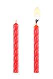 δύο κόκκινα κεριά γενεθλίων που απομονώνονται στο λευκό στοκ φωτογραφία με δικαίωμα ελεύθερης χρήσης