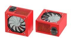 Δύο κόκκινες μονάδες παροχής ηλεκτρικού ρεύματος υπολογιστών Στοκ εικόνες με δικαίωμα ελεύθερης χρήσης