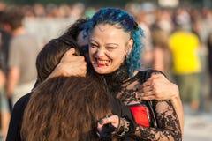 Δύο οπαδοί του ροκ στο πράσινο φεστιβάλ Tuborg Στοκ Εικόνες