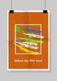 Δύο φορές μια διπλωμένη πορτοκαλιά αφίσα με τους σφιγκτήρες Στοκ φωτογραφία με δικαίωμα ελεύθερης χρήσης
