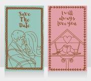 Δύο χαριτωμένες κάρτες για την επέτειο ή την ημέρα βαλεντίνων ` s Στοκ φωτογραφία με δικαίωμα ελεύθερης χρήσης