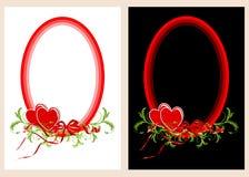 Δύο ωοειδή πλαίσια με τις καρδιές Στοκ Φωτογραφίες