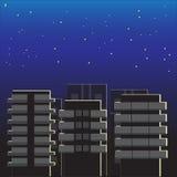 Ύπνοι και όνειρα πόλεων νύχτας Η πανσέληνος φωτίζει τις προσόψεις των κτηρίων διανυσματική απεικόνιση