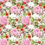 Ύπνος γατών στη χλόη και τα λουλούδια floral πρότυπο άνευ ραφής Στοκ φωτογραφία με δικαίωμα ελεύθερης χρήσης