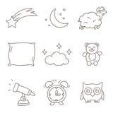 ύπνος Διανυσματικά εικονίδια, hand-drawn Στοκ εικόνα με δικαίωμα ελεύθερης χρήσης