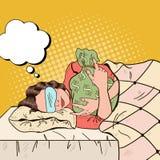 Ύπνος επιχειρησιακών γυναικών στο κρεβάτι με την τσάντα χρημάτων Λαϊκή αναδρομική απεικόνιση τέχνης Στοκ εικόνα με δικαίωμα ελεύθερης χρήσης
