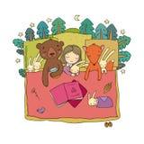Ύπνος κοριτσιών κινούμενων σχεδίων στο κρεβάτι παιχνίδια μωρών ζώα της δασικής ιστορίας παιδιών s χρόνος ύπνου Διανυσματική απεικ στοκ φωτογραφία με δικαίωμα ελεύθερης χρήσης