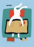 Ύπνος κουνελιών κινούμενων σχεδίων στο κρεβάτι επίσης corel σύρετε το διάνυσμα απεικόνισης 10 eps Στοκ Εικόνα