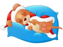 Ύπνος κουταβιών Χριστουγέννων στο μαξιλάρι απεικόνιση αποθεμάτων