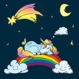 Ύπνος μονοκέρων Ð ¡ Ute στο ουράνιο τόξο, τον ουρανό με το φεγγάρι, τα αστέρια και τον κομήτη ελεύθερη απεικόνιση δικαιώματος