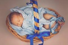 Ύπνος νεογέννητος στο καλάθι στοκ φωτογραφία με δικαίωμα ελεύθερης χρήσης