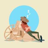 Ύπνος χωρικών της Farmer στους σάκους σίτου Στοκ Εικόνες